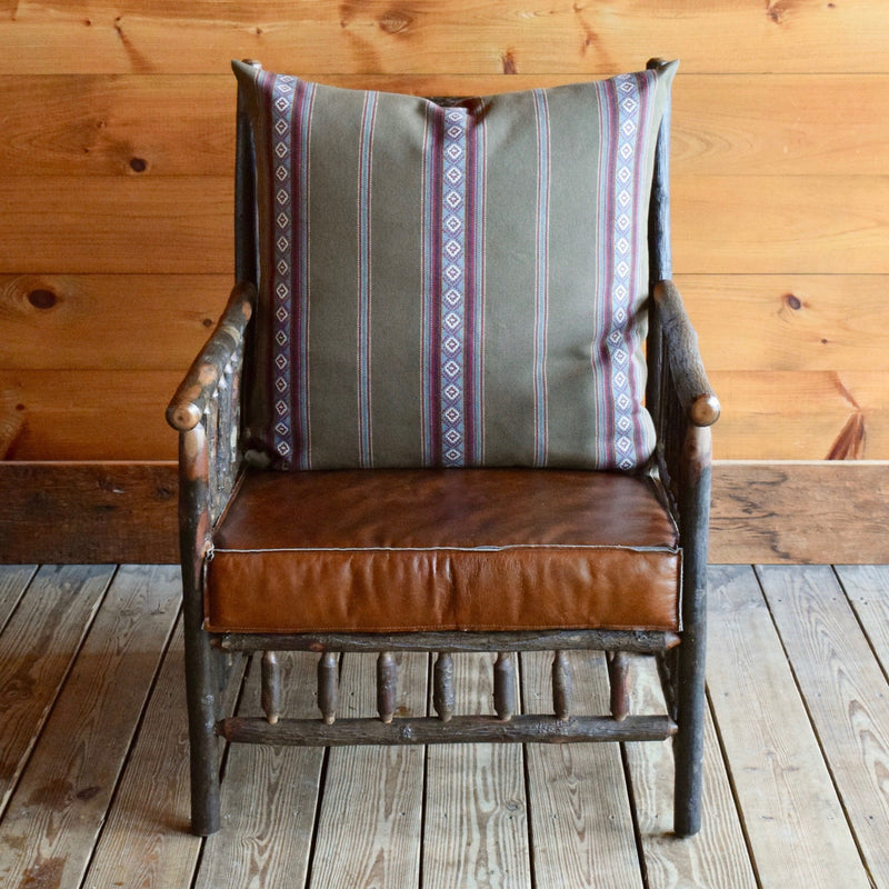 Rustic Adirondack East Hill Chair in Hickory with Sage Green Serape Stripe Cotton Back Pillow and Leather Seat Cushion