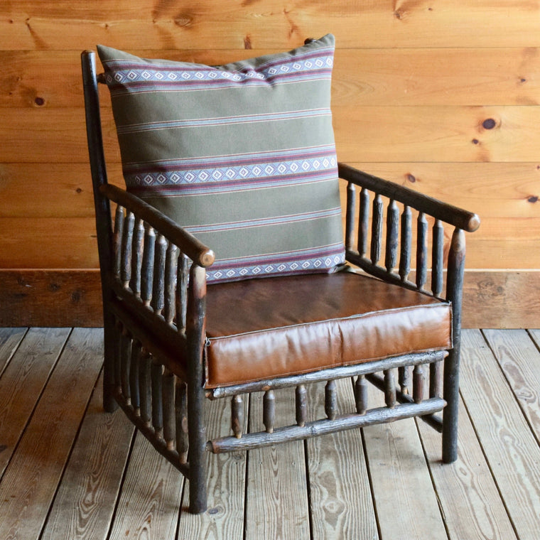 East Hill Hickory Club Chair in Sage Stripe