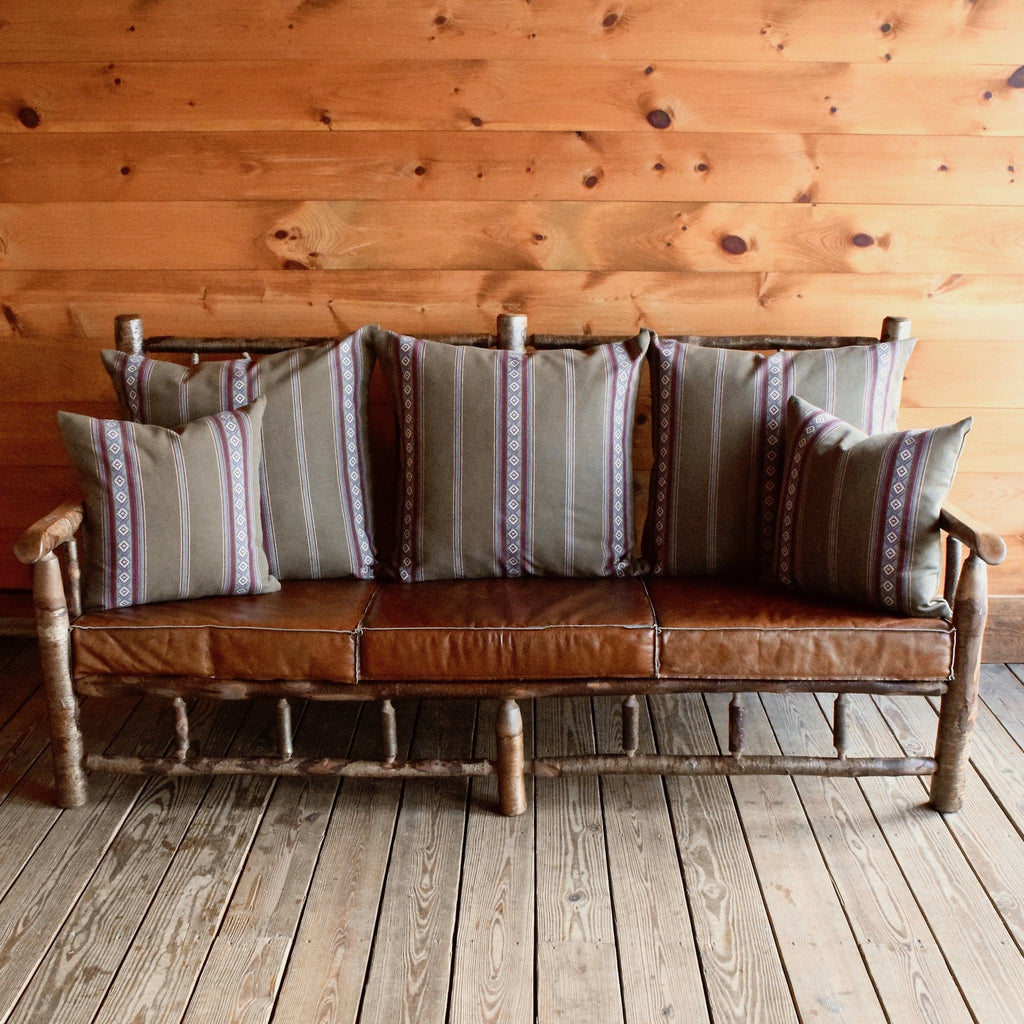 Yellow Birch East Hill Spindle Sofa with Sage Green Cotton Stripe Pillows and Knife-Edge Leather Seat Cushions