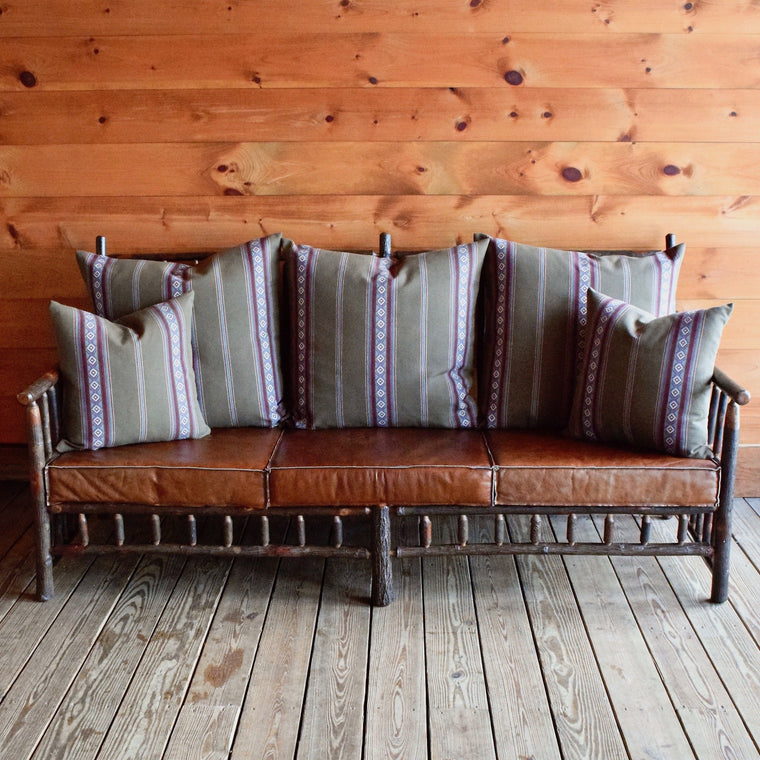 East Hill Hickory Sofa in Sage Stripe