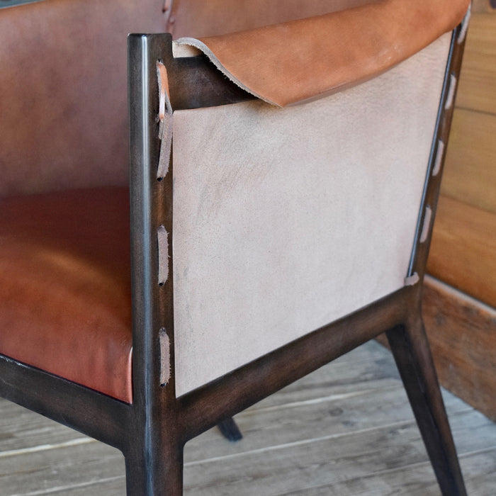Simple Leather Arm Chair with Metal Frame and Exposed Stitching