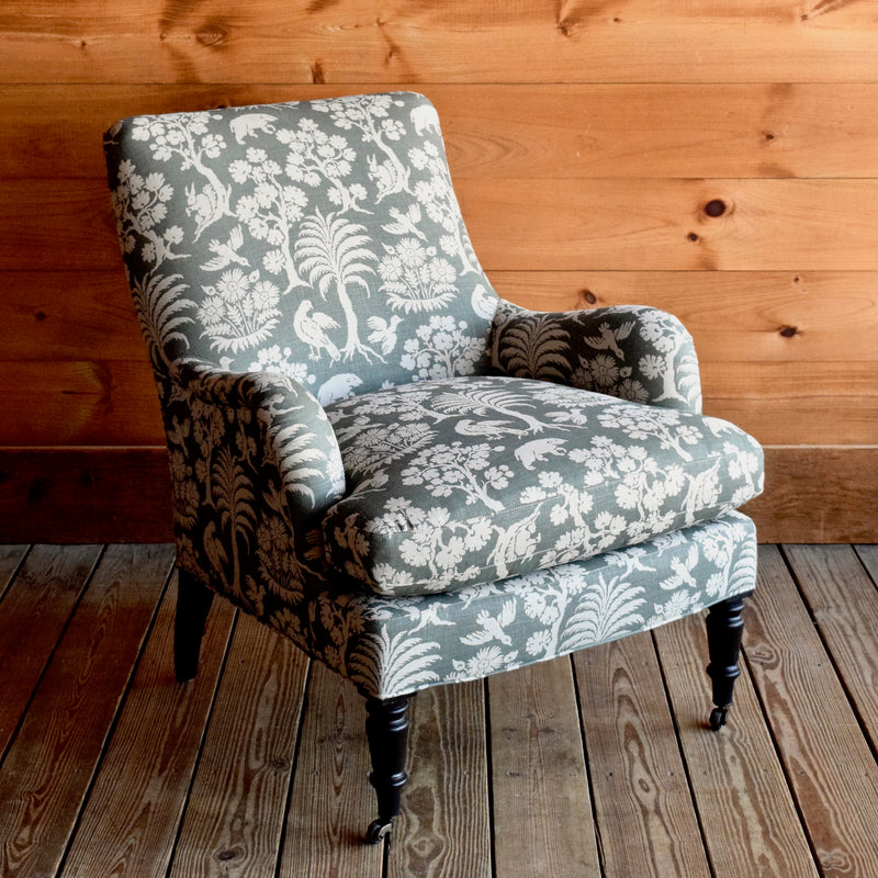 Saddle Arm Chair with Schumacher Woodland Silhouette Fabric and Black Walnut Turned Legs
