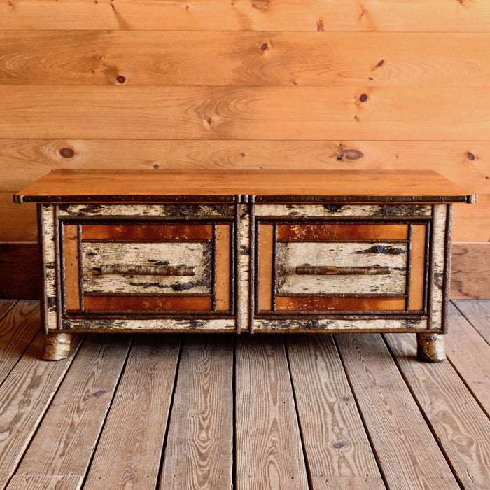 Handmade Trunk or Coffee Table with Antique Barnwood Top and Twin Drawers