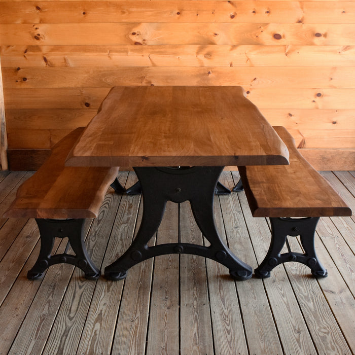Rustic Live Edge Acacia Wood Dining Table and Benches with Cast Iron Base