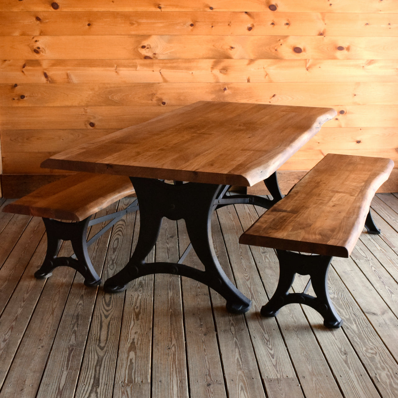 Picture of: Walnut Industrial Dining Set Rustic Acacia Wood Dining Table And Benches With Cast Iron Base Dartbrook Rustic Goods