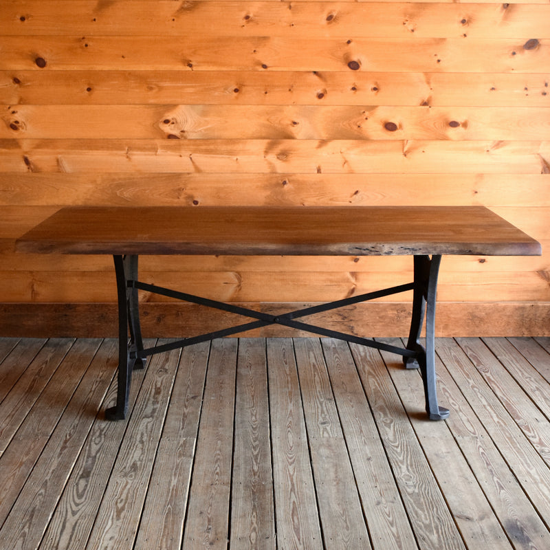 Rustic Live Edge Acacia Wood Dining Table with Cast Iron Base