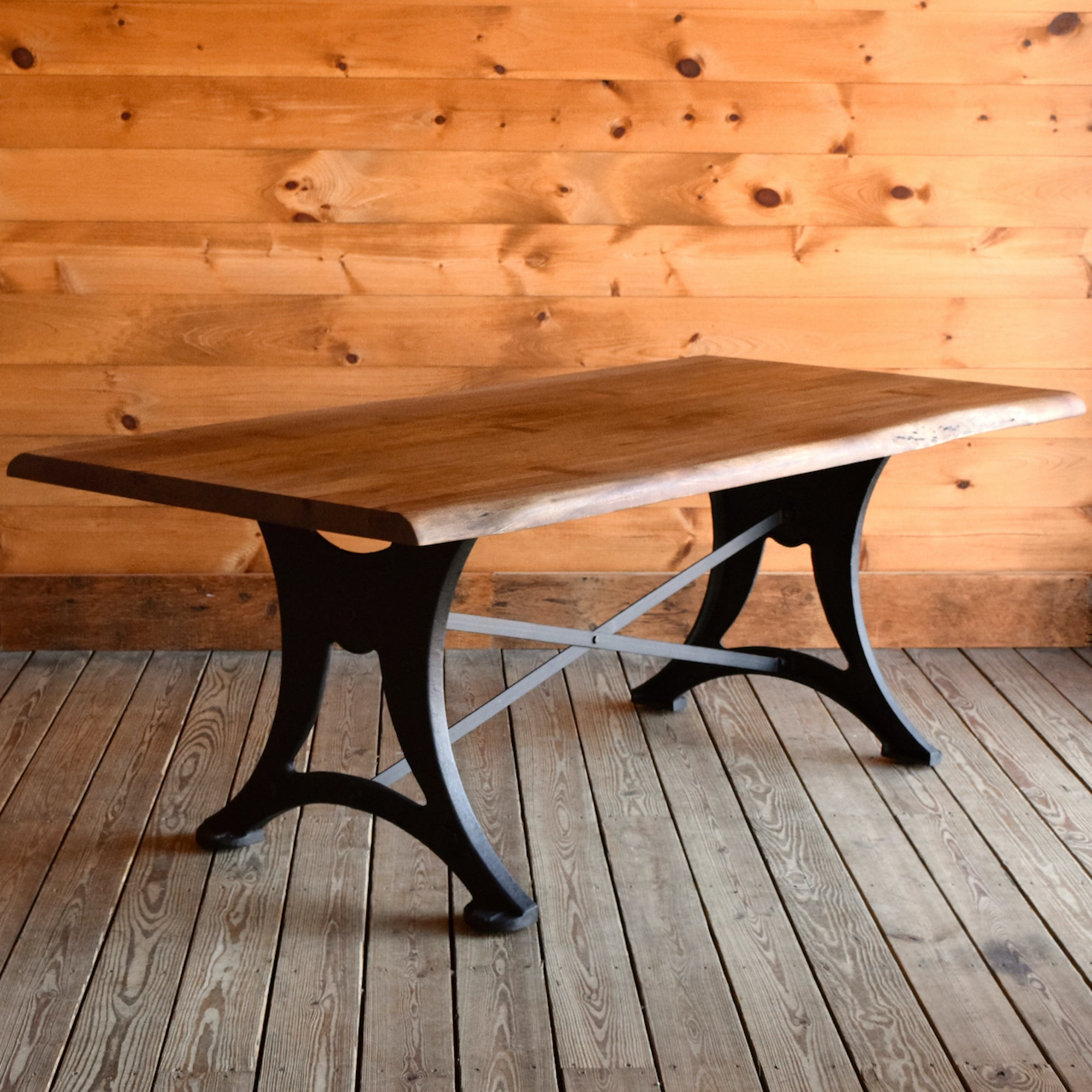 Picture of: Walnut Industrial Dining Table Rustic Acacia Wood Dining Table With Cast Iron Base Dartbrook Rustic Goods