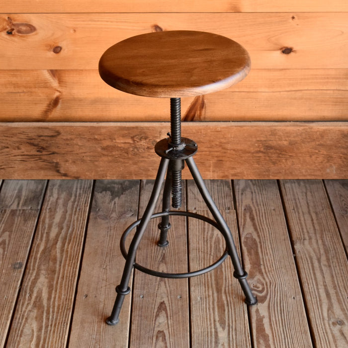 Walnut Acacia Wood & Reclaimed Iron Adjustable Stool