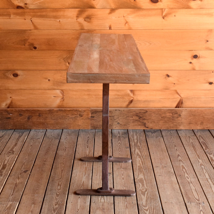 Rustic Wood and Cast Iron Console Table