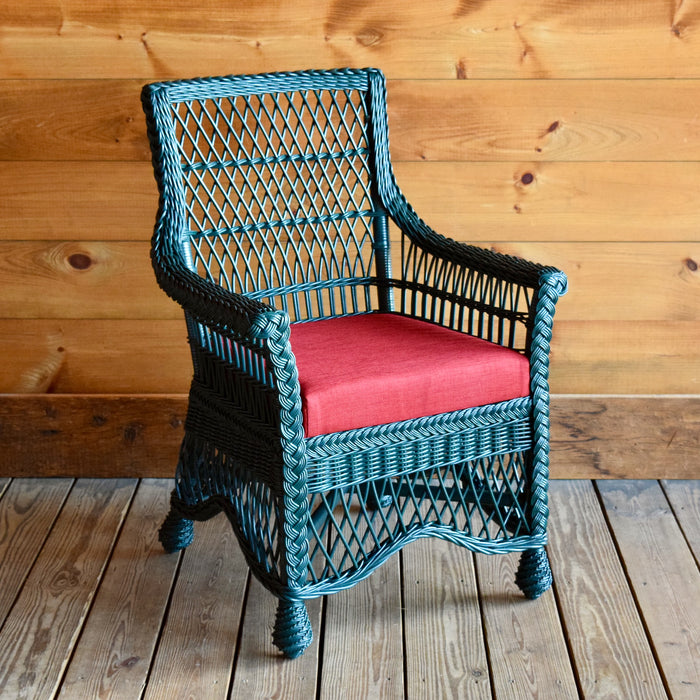 Rustic Green Wicker Dining Chair with Red Seat Cushion