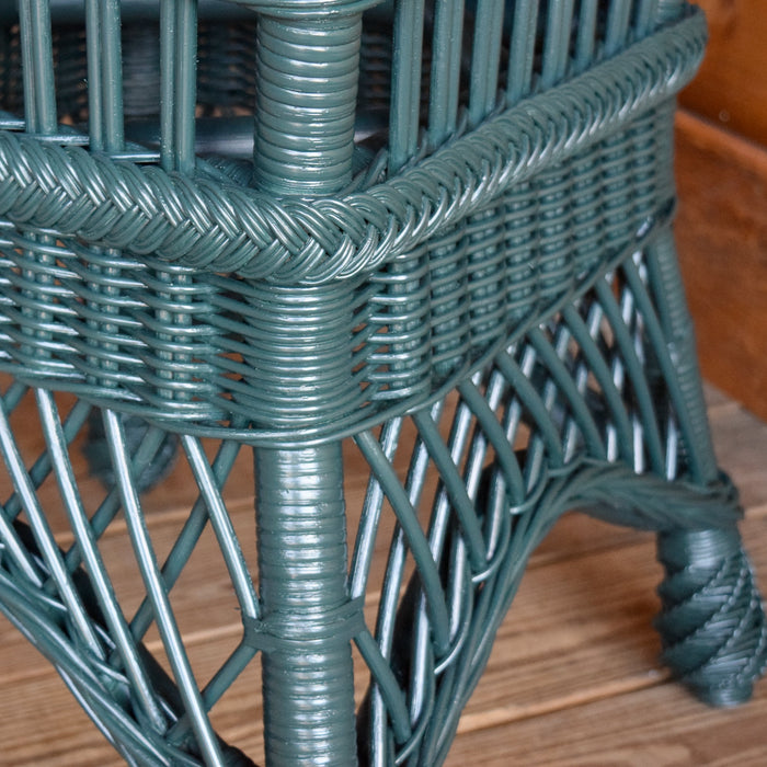 Rustic Green Rattan Wicker Dining Table