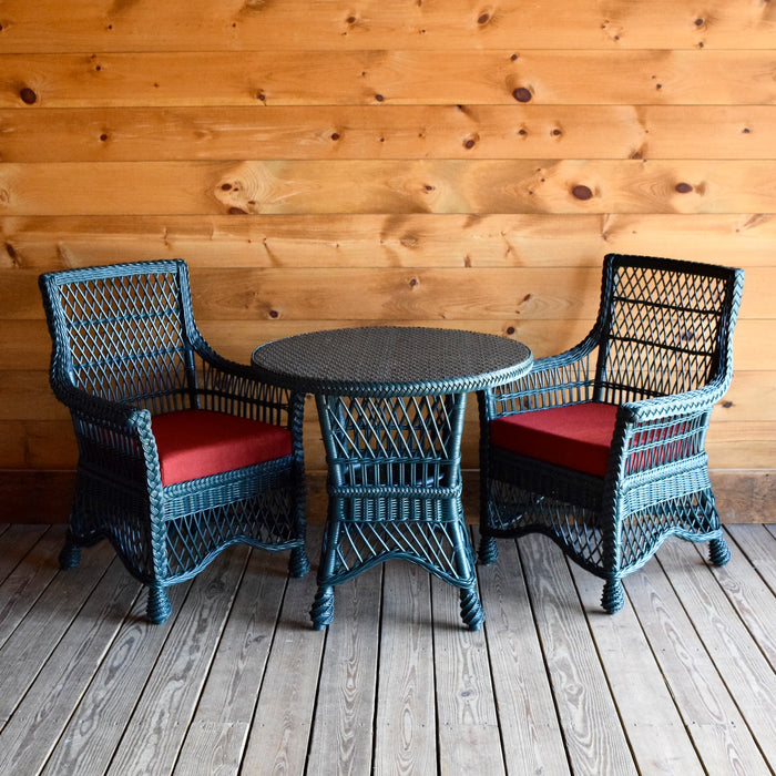 Rustic Green Rattan Wicker Dining Chairs & Table