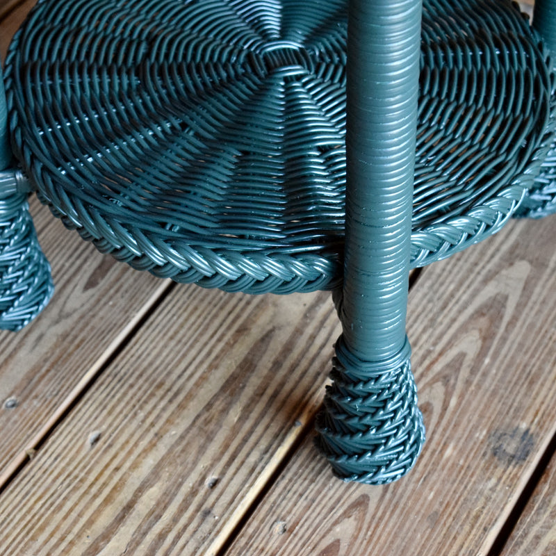 Painted Wicker Accent Table with Serving Tray