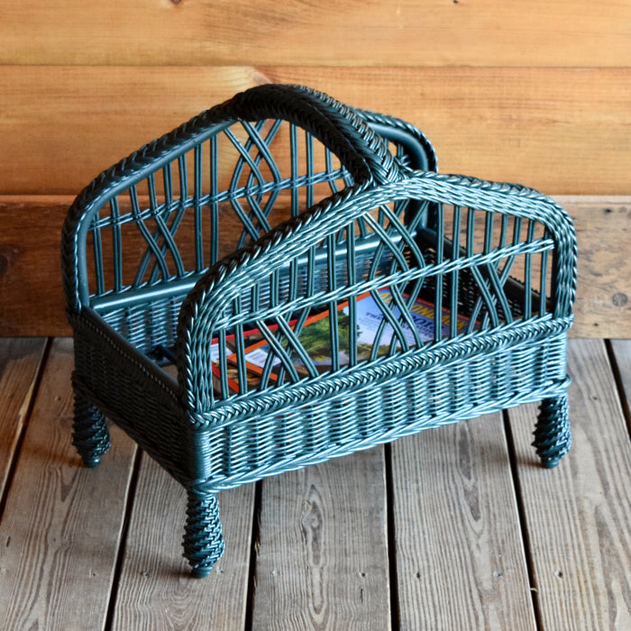 Painted Green Wicker Magazine Basket