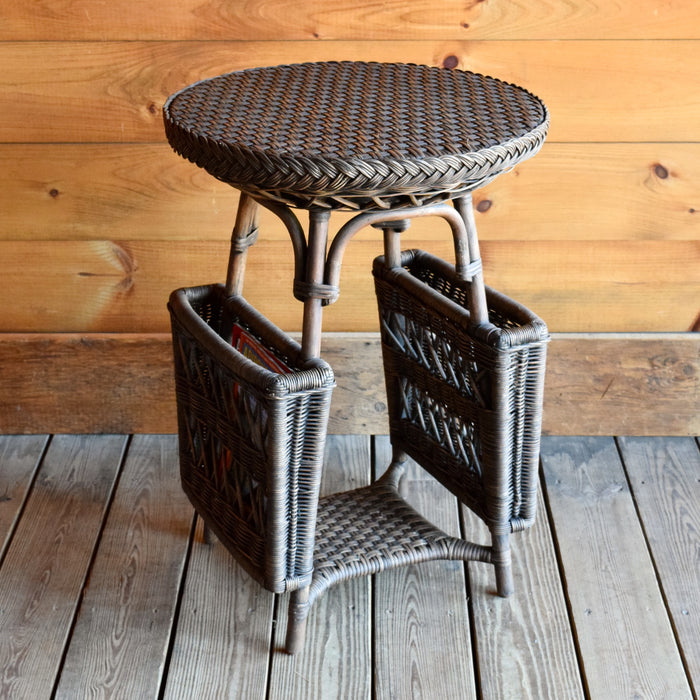Vintage-Inspired Wicker Accent Table with Magazine Pockets
