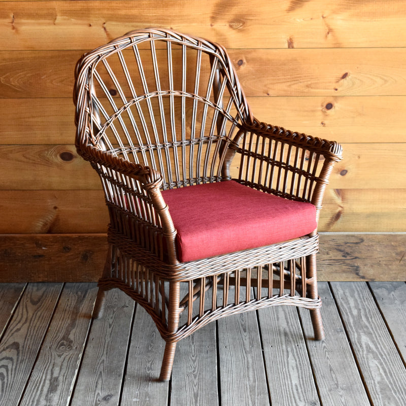 Rustic Natural Wicker Arm Chair with Red Cushion