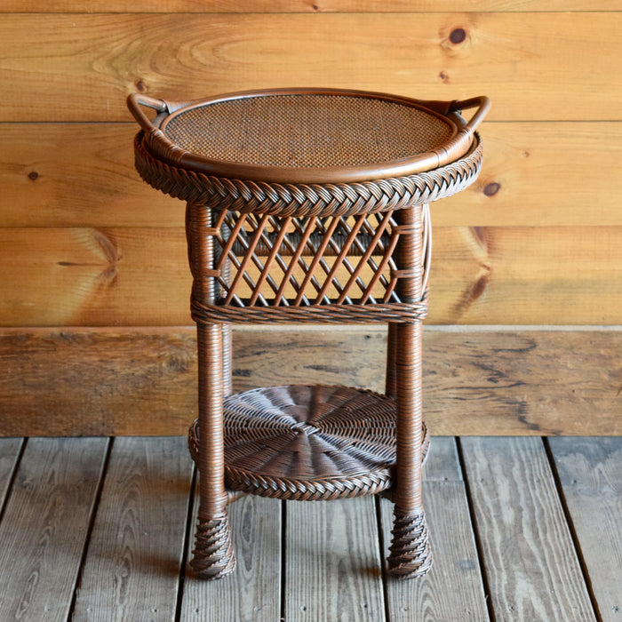 Natural Wicker Side Table with Matching Serving Tray