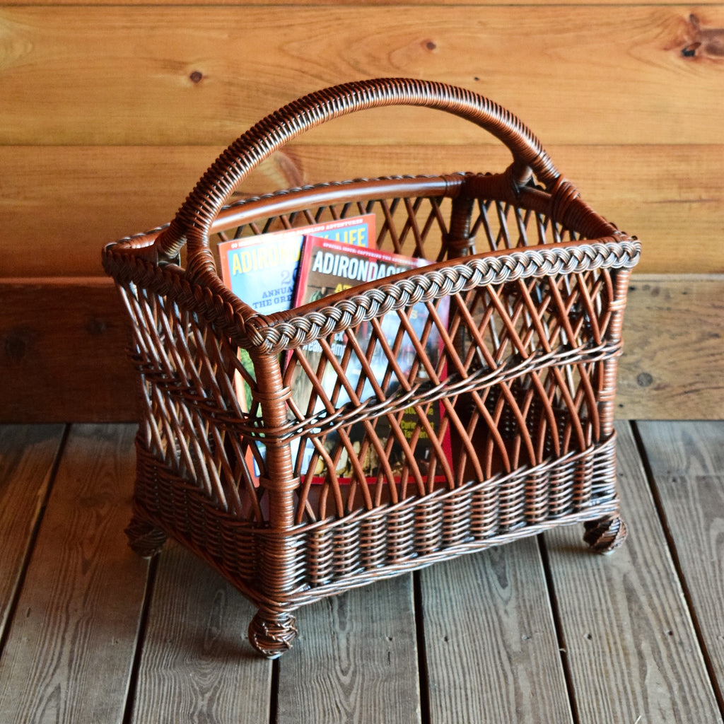 Wicker Magazine Basket Inspired by Early 1900s