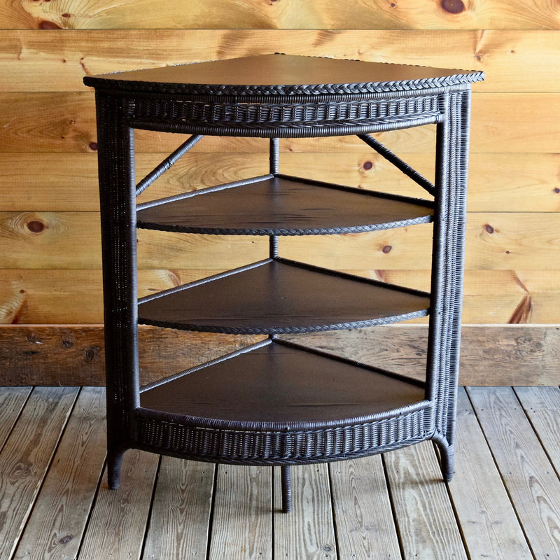 Dark Brown Wicker Three-Tier Corner Shelf