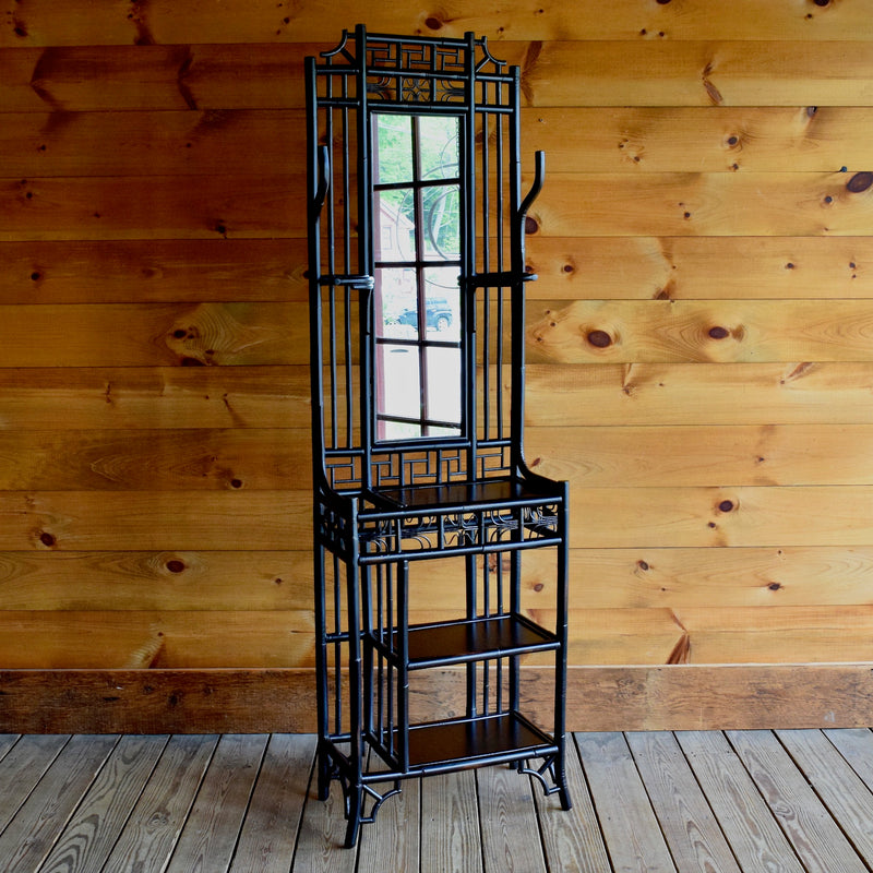Dark Rattan Hall Tree with Mirror, Hooks, Umbrella Stand and Shelves