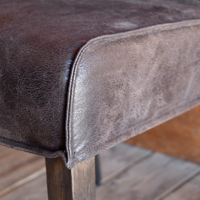 Dark Brown Knife-Edge Leather Dining Chair