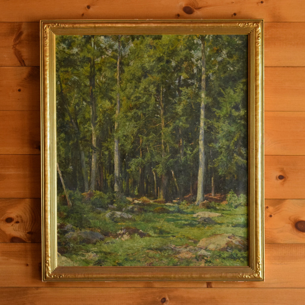 Hugh Bolton Jones Vintage Oil on Canvas of Woods Scene