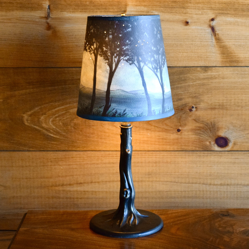 Iron Tree Lamp with Hand-painted Twilight Shade
