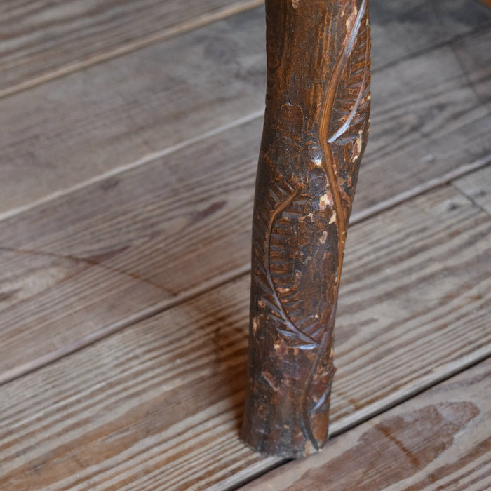 Rustic Handcrafted Stand with Hand Carved Leaves