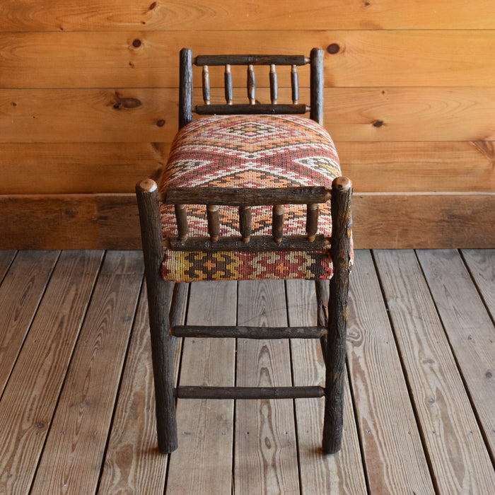 Steam-Bent Hickory Bench with Diamond Pattern Vintage Kilim Seat
