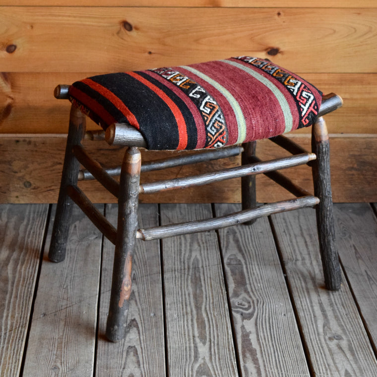 Camp Stool with Vintage Kilim Seat | Dartbrook Signature Collection