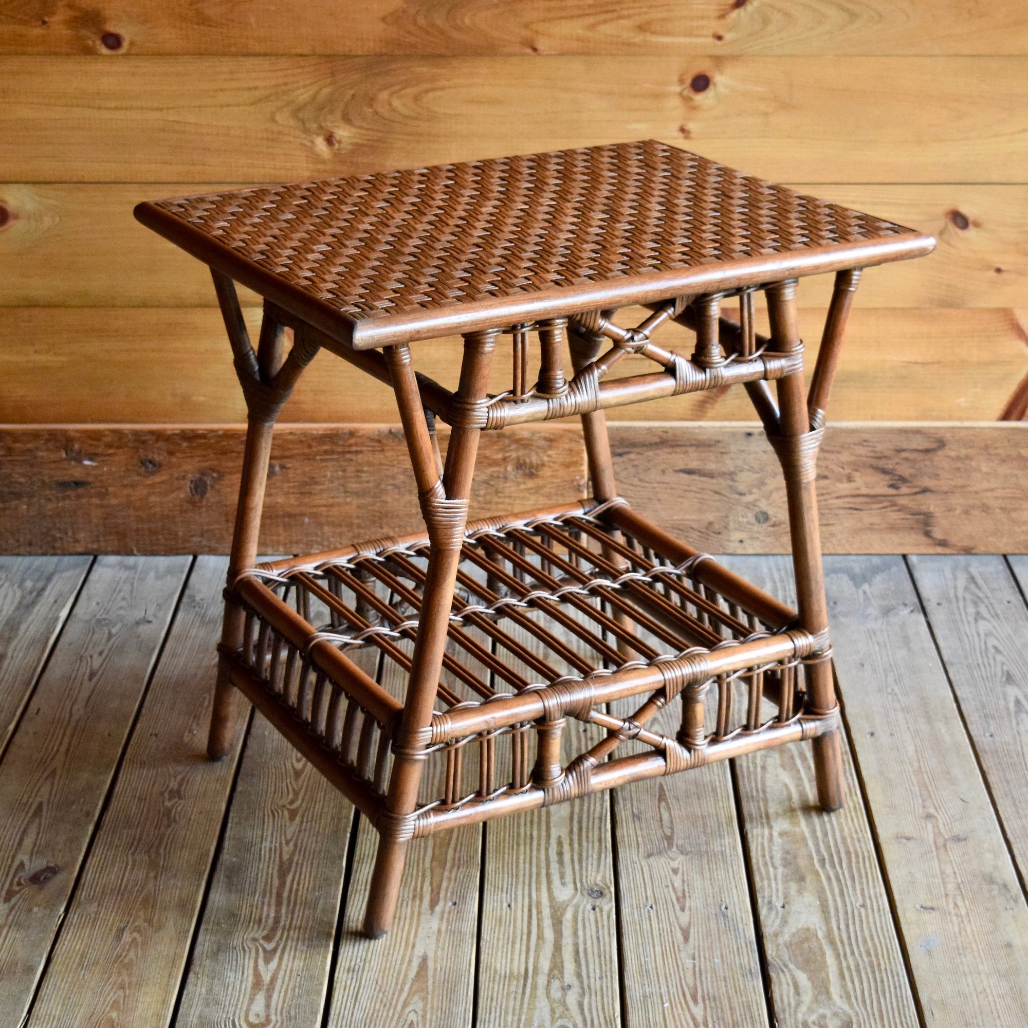 Stick Rattan End Table With Woven Wicker Top ...