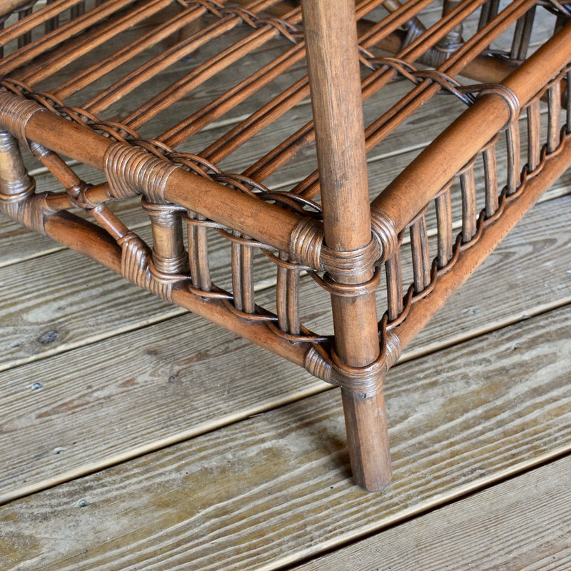 Stick Rattan End Table with Woven Wicker Top