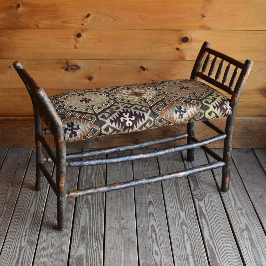 Hickory Bench with Vintage Kilim Upholstered Seat