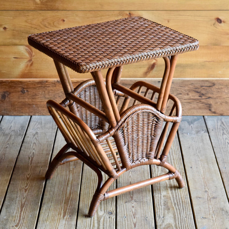 Wicker Rattan Magazine Rack Side Table