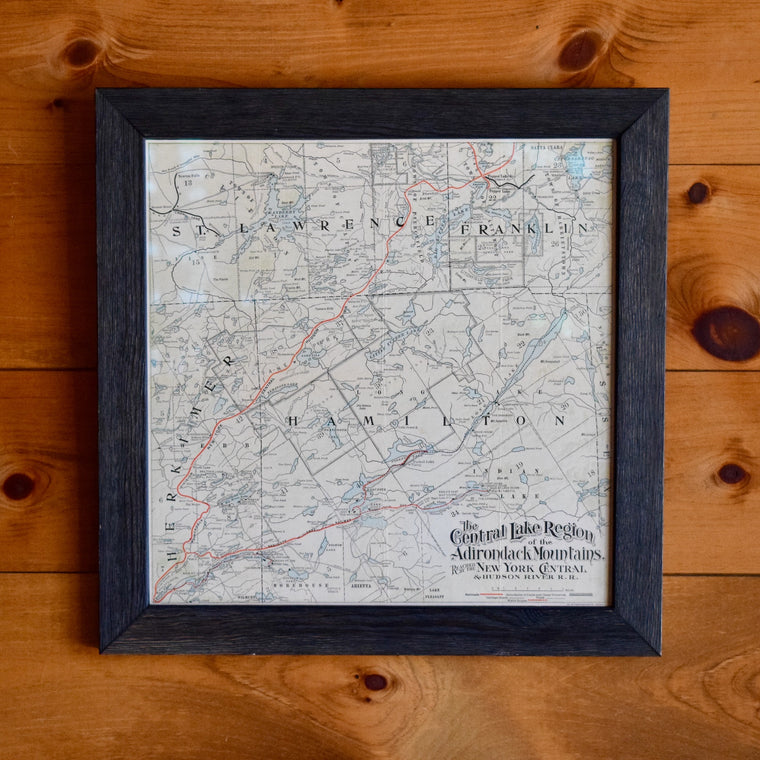 c. 1908 New York Central & Hudson River Railroad Map of the Adirondacks in Custom Frame