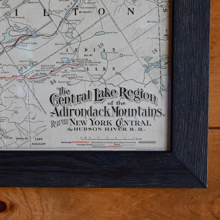 1908 New York Central & Hudson River Railroad Map in Custom Frame