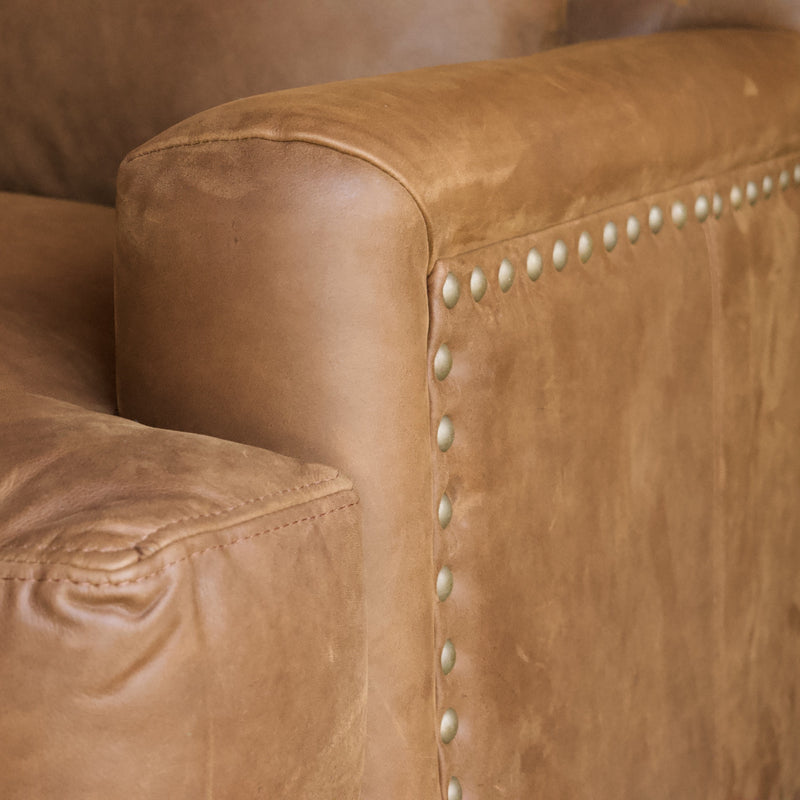 Nubuck Leather 3-Seat Sofa with Square Arms, T-Cushions and Brass Nailhead Trim