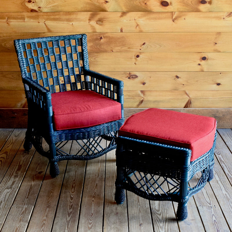 Dark Teal Wicker Arm Chair with Checkerboard Weave and Cherry Red Polyester Seat Cushion