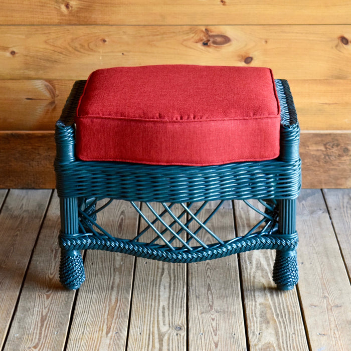 Teal Wicker Ottoman with Cherry Red Cushion