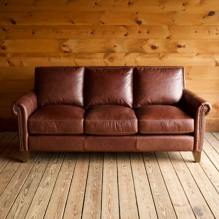 "80"" Cognac Roll-Arm Leather Sofa with Hardwood Frame, Down Cushions and Brass Nailhead Trim"