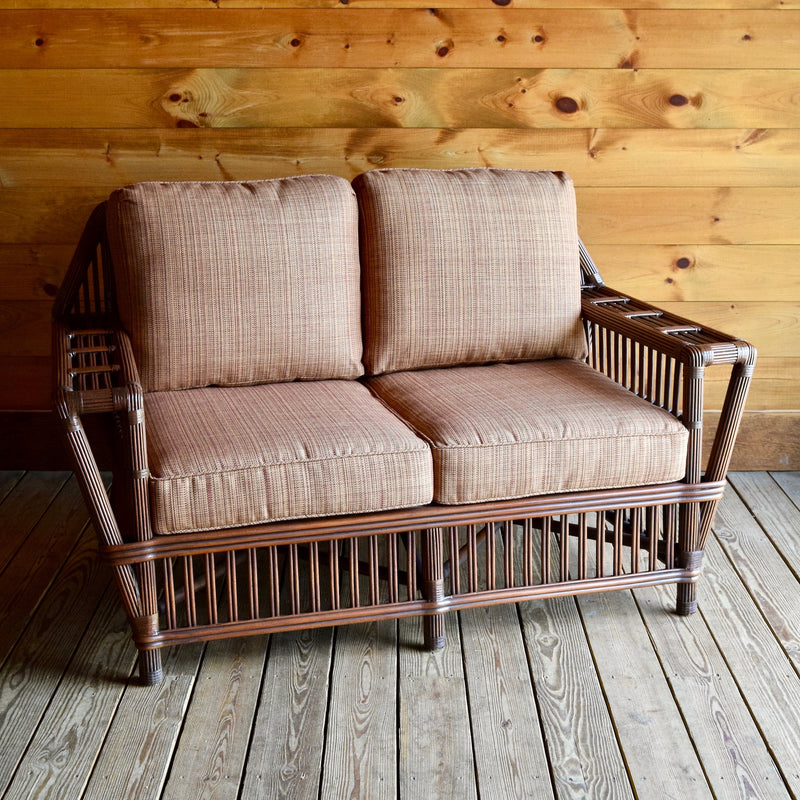 Wicker Rattan Porch Loveseat with Removable Cushions