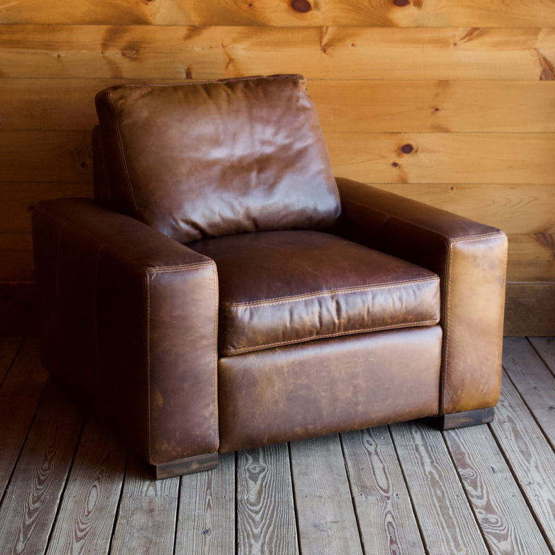 Oversized Bourbon Leather Track Arm Chair