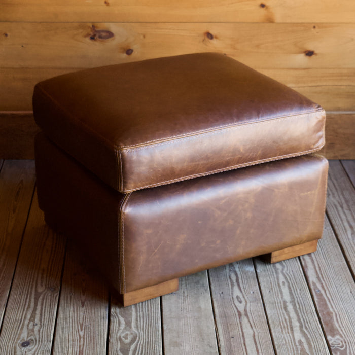 Bourbon Full Grain Leather Ottoman with Kiln-Dried Hardwood Frame