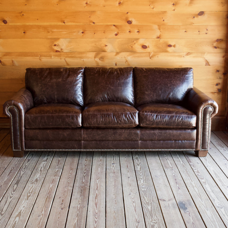 Large Rolled-Arm Chocolate Leather Sofa with Crackle Effect and Nailhead Trim