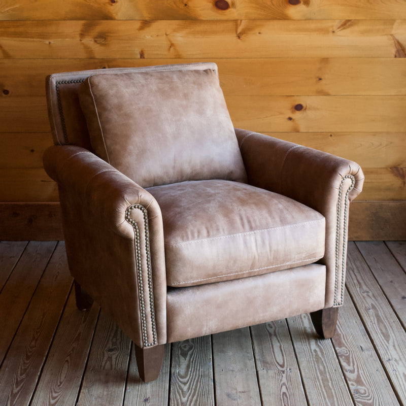 Nubuck Leather Roll-Arm Chair with a Hardwood Frame, Brass Nailhead Trim and Down-Wrapped Cushions