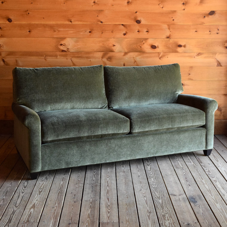 Green Velvet-Chenille Sofa with Hardwood Frame