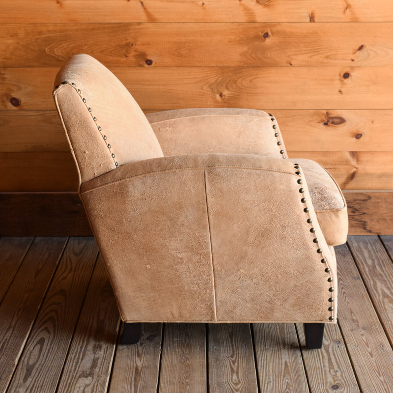 Distressed Leather Club Chair with Nailhead Trim and Hardwood Legs