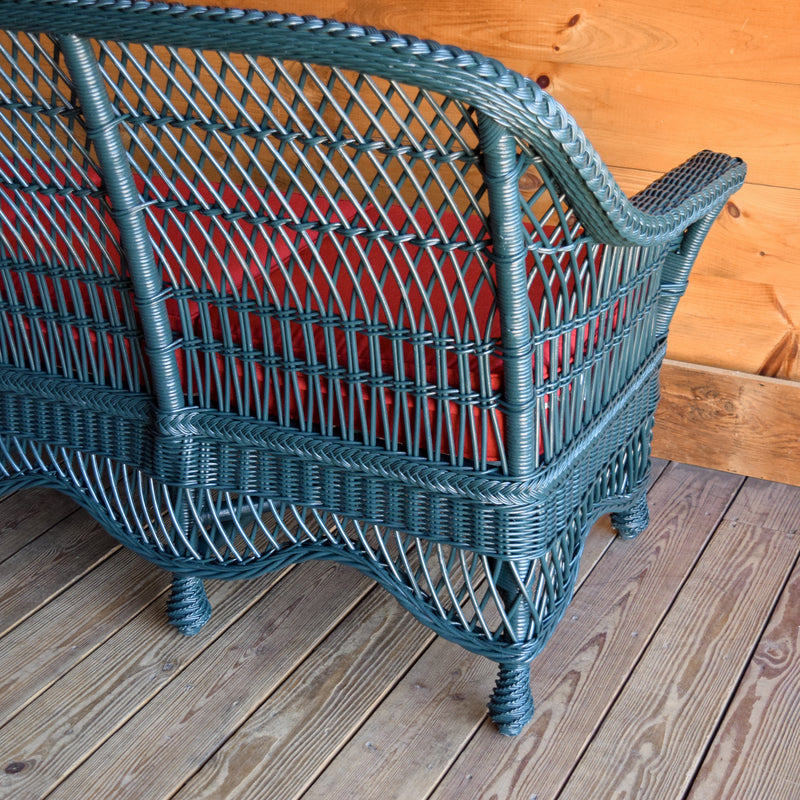 Rustic Green Rattan Wicker Sofa with Solid Wood Frame and Cherry Red Seat & Back Cushions