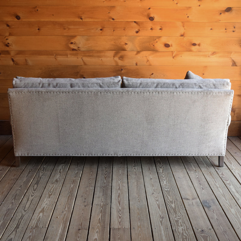 Rolled Arm Sofa Upholstered in Stain-Resistant Gray Heavy Duty Fabric with Tack Trim and Down Throw Pillows