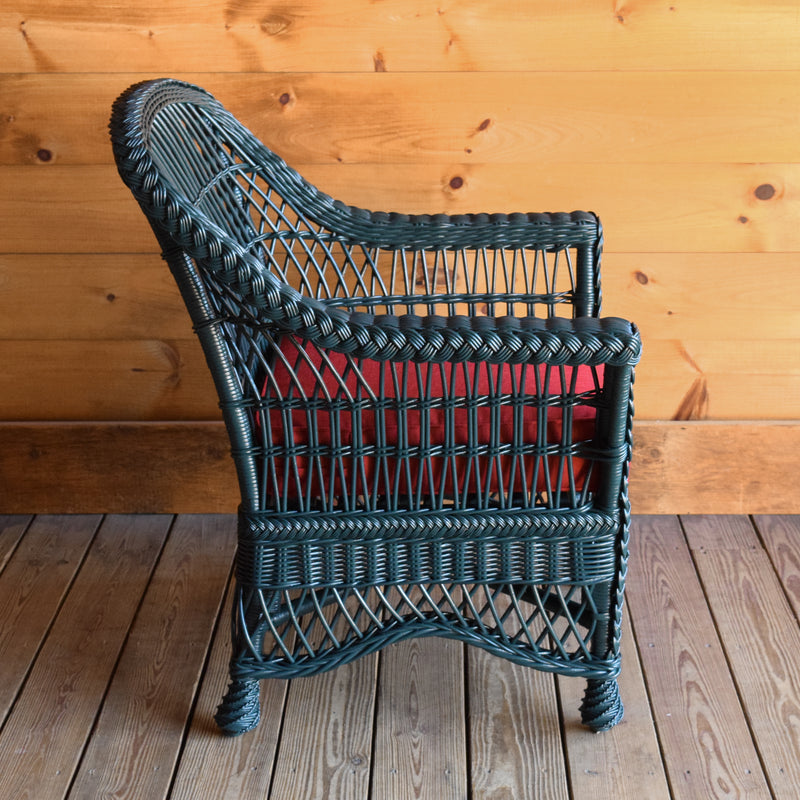 Green Rattan Wicker Arm Chair with Red Seat & Back Cushions
